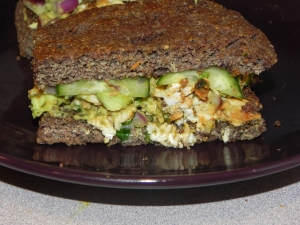 Flax and Chia Foccacia Bread with Curried Avocado Chicken Salad